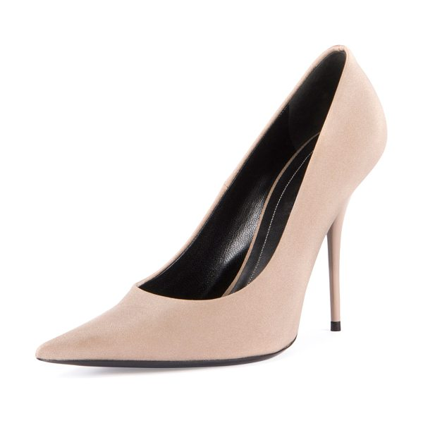 "Balenciaga Satin Pointed-Toe 110mm Pump in beige - Balenciaga satin (nylon/spandex) pump. 4.3"" covered..."