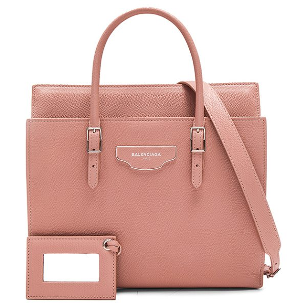 Balenciaga Small city plate portfolio in pink - Grained calfskin leather with fabric lining and...