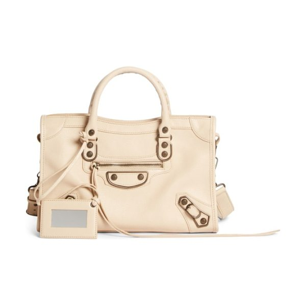 Balenciaga small classic metallic edge city leather tote in beige tapioca - Made from beautifully textured leather in a creamy hue,...