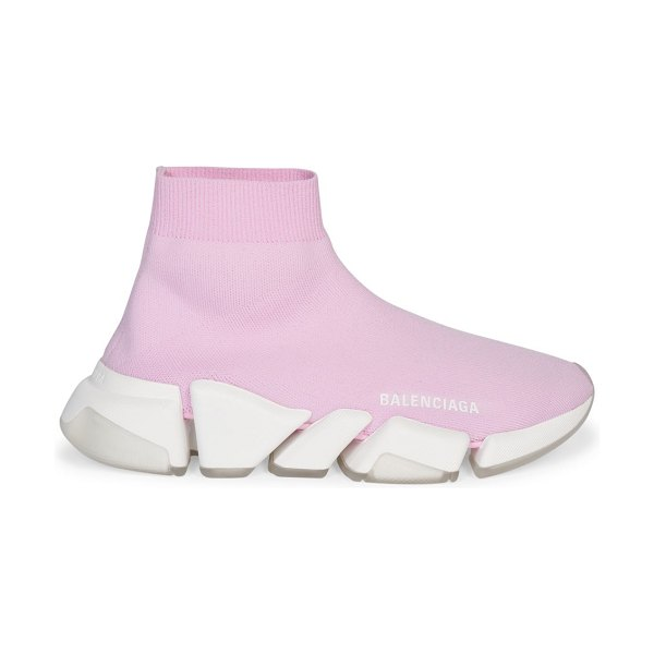 Balenciaga speed 2.0 clear sole sneakers in pink white transparent