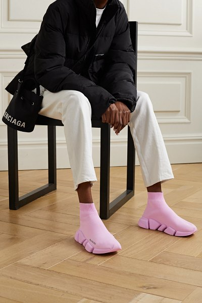 Balenciaga speed 2.0 stretch-knit high-top sneakers in baby pink