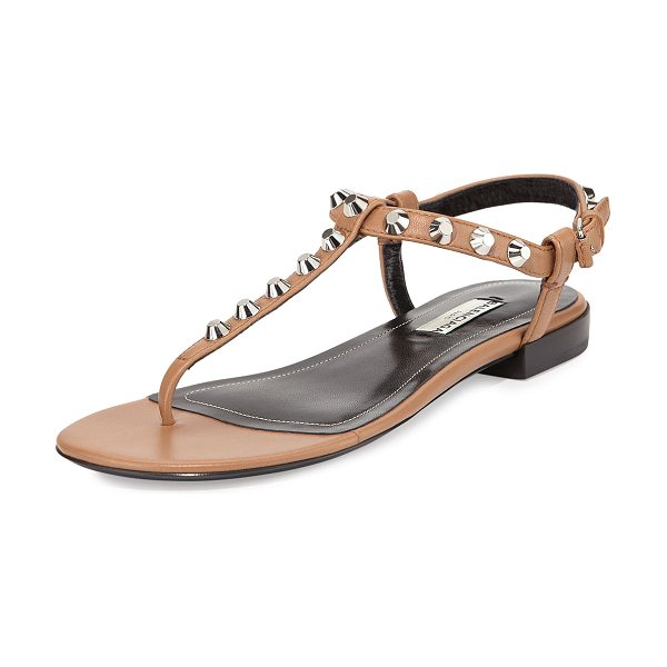 """Balenciaga Studded leather thong sandal in camel - Balenciaga lambskin leather sandal. 0. 6"""" stacked heel...."""