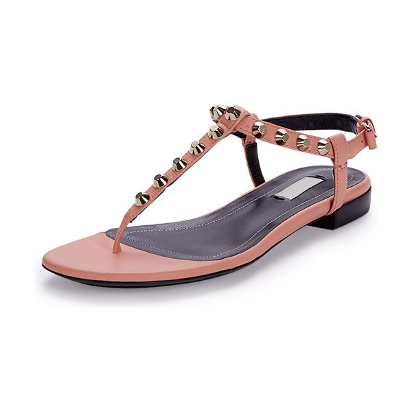 "Balenciaga Studded Leather Thong Sandal in rose ballerine - Balenciaga lambskin leather sandal. 0.3"" flat heel...."