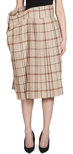 BALENCIAGA wool pleated skirt - Oversized pleated skirt in checked print. Banded waist....