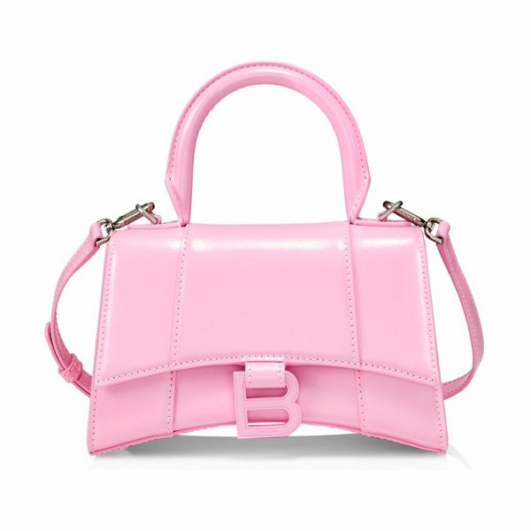 Balenciaga xs hourglass leather top handle bag in candy pink