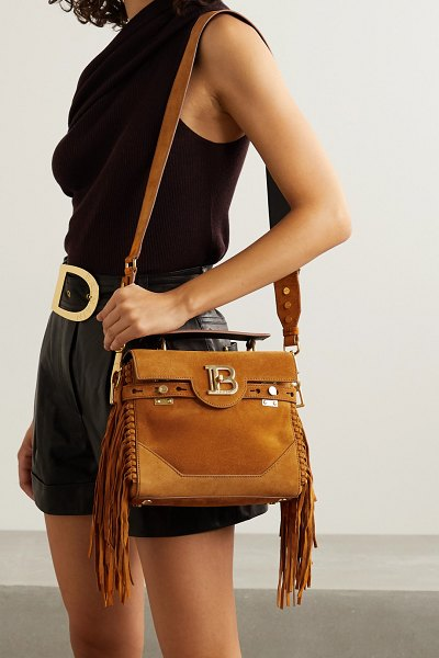Balmain b-buzz 19 fringed suede shoulder bag in camel