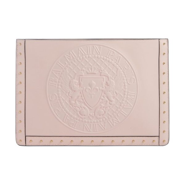 Balmain mini domaine embossed coin calfskin bag in rose - Balmain's embossed coin adds rich texture to a trim...