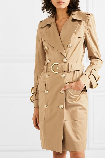 Balmain button-embellished cotton-twill trench coat in beige