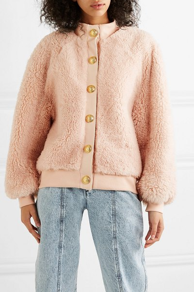 Balmain button-embellished leather-trimmed shearling jacket in pink