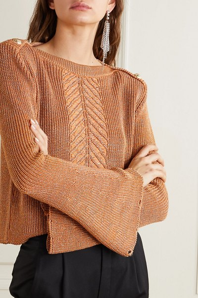 Balmain button-embellished metallic cable-knit sweater in brown