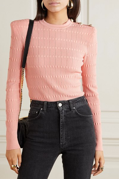 Balmain button-embellished ribbed-knit sweater in pink