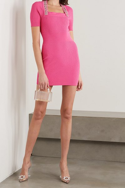 Balmain crystal-embellished ribbed stretch-knit mini dress in pink