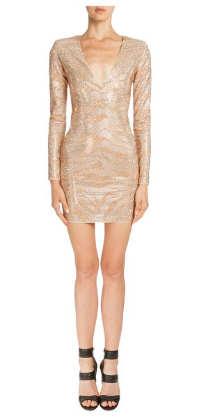 BALMAIN Crystal tiger-striped long-sleeve dress -  Balmain crystal tiger-striped dress. Deep V neckline....