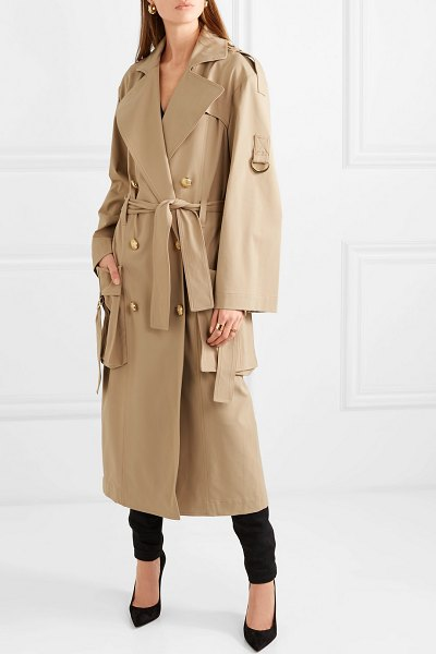 Balmain double-breasted gabardine trench coat in beige