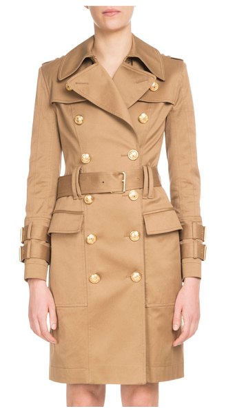 Balmain Double-Breasted Golden-Button Belted Trench Coat in camel