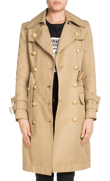 Balmain Double-Breasted Knee-Length Gabardine Trench Coat in medium brown - Balmain gabardine trench coat with golden buttons....