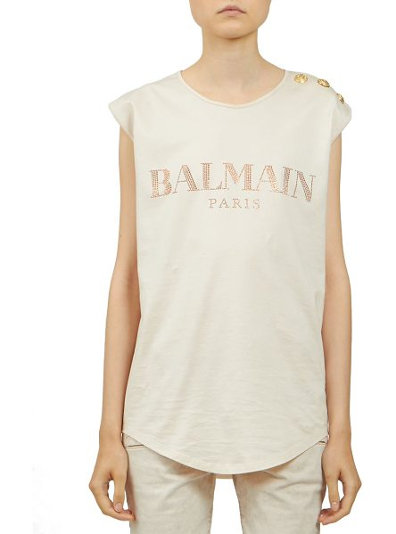 Balmain Embellished logo tee in rose-peach - Logo tee with goldtone button embellishmentRoundneckCap...