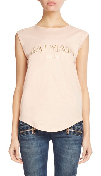 Balmain Foiled-Logo Button-Shoulder Tank in light pink - Balmain jersey tank with foiled logo print. Signature...
