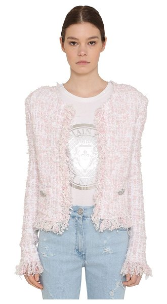 Balmain Fringed lurex tweed jacket in pink