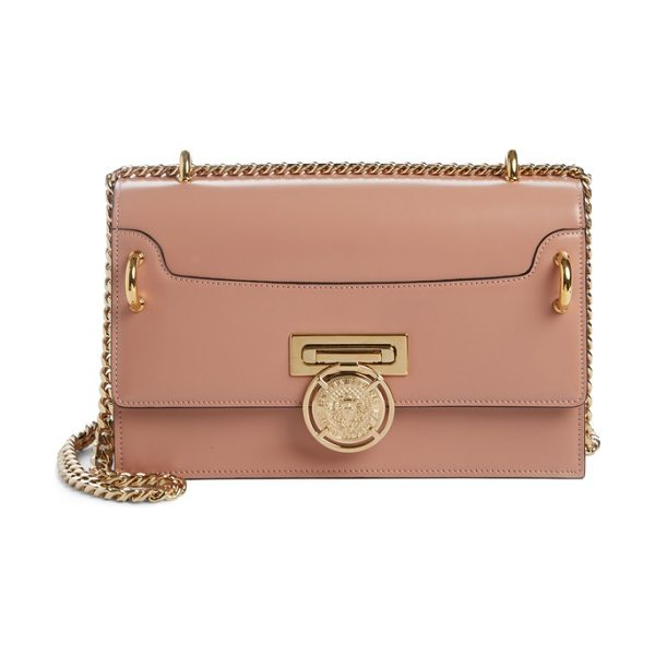 BALMAIN glace leather box shoulder bag - A gleaming logo-medallion lock lends couture polish to a...