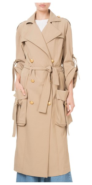 Balmain Golden-Button Cargo-Pocket Trench Coat in tan - Balmain coat in canvas. Notched lapel; double-breasted...