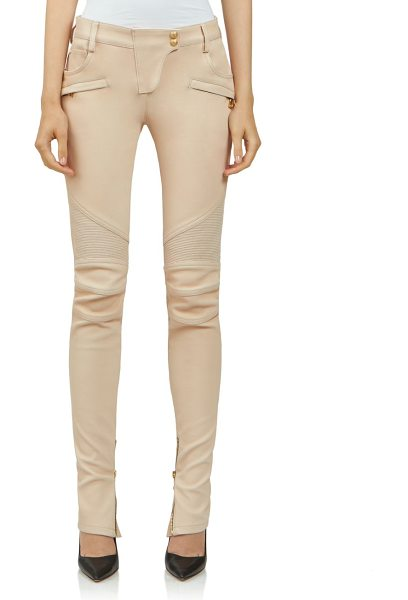 Balmain Leather moto pants in sand - Lambskin leather pant in moto-inspired silhouetteBelt...