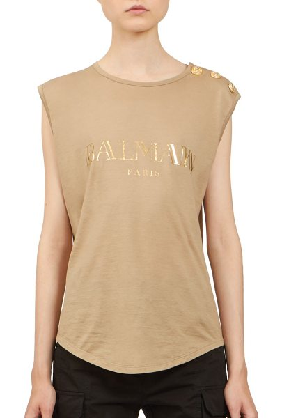 Balmain Logo muscle tank in sable - Goldtone foil logo marks signature tankCrewneckButton...