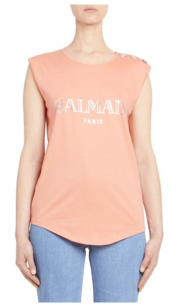 496ba616254c7 Balmain logo tank top in pink - Metallic logo graphics and button  embellishments elevate.