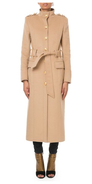 Balmain Long Belted Wool-Cashmere Military Coat in camel - Balmain coat in wool-cashmere twill. Mock neckline;...