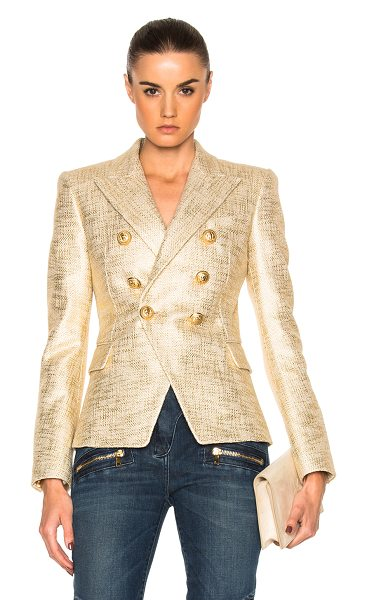 Balmain Metallic Blazer in metallics - Self: 100% cotton - Lining: 52% viscose 48% cotton. ...