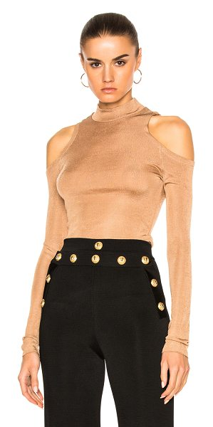 Balmain Open Shoulder Top in brown - 100% viscose.  Made in France.  Dry clean only.  Knit...