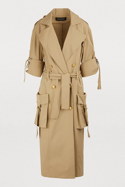 Balmain Oversized pockets trench coat in 0kk sable