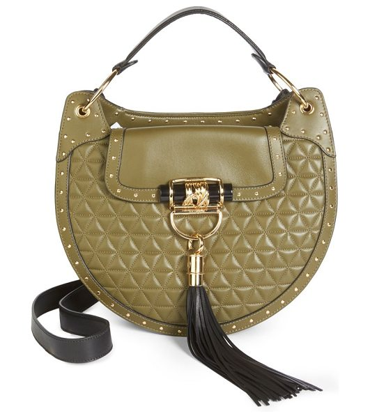 Balmain quilted leather saddle bag in khaki