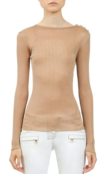 BALMAIN Ribbed long-sleeve top - Ribbed top with goldtone button detailAllover...