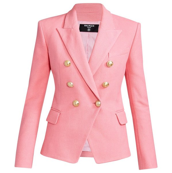 Balmain six button double breasted tweed jacket in rose