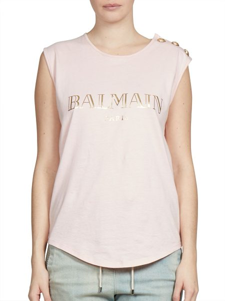 Balmain sleeveless logo tee in pink - Sleeveless logo tee with goldtone button accent....