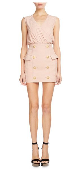 BALMAIN Sleeveless Suede Button-Skirt Dress - Balmain lamb suede dress with golden button skirt....