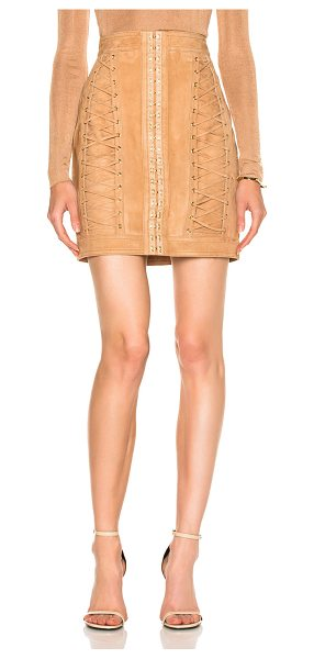 Balmain Suede Lace Up Mini Skirt in neutrals - Self: 100% lambskin leather - Lining: 52% viscose 48%...