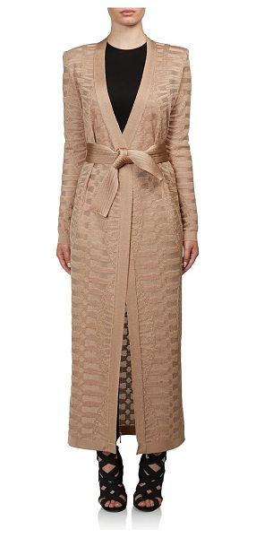 Balmain Textured duster cardigan in sand - Textural duster cinched with tie waistCollarlessLong...