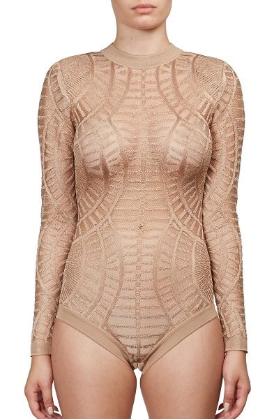 Balmain Textured long-sleeve bodysuit in beige - Textural bodysuit cut with long sleevesMockneckLong...