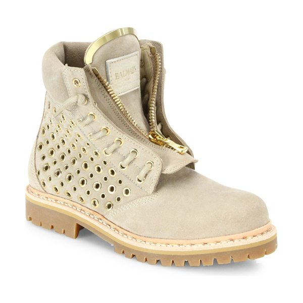 BALMAIN Tia grommet-detail suede boots - Gleaming metal grommets perforate edgy ankle bootSuede...