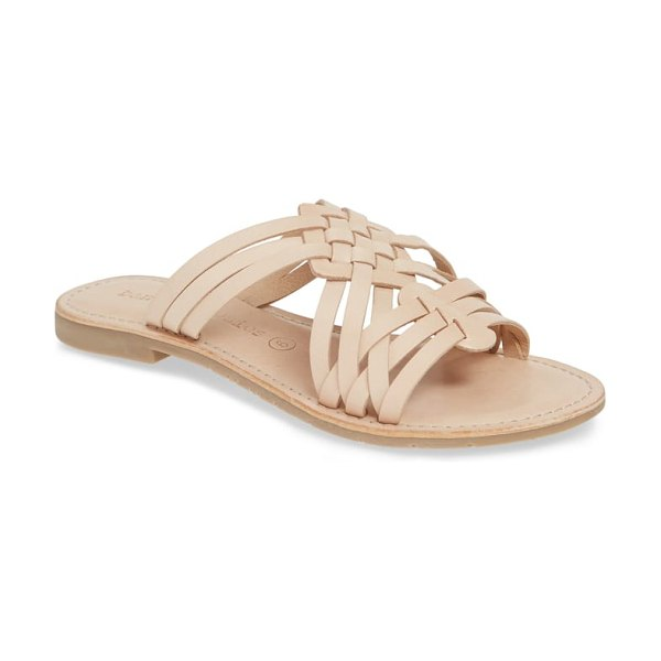 Band Of Gypsies crete slide sandal in beige - Contrast topstitching outlines the footbed of a breezy...