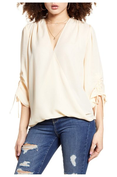 Band Of Gypsies parma ruched sleeve top in beige