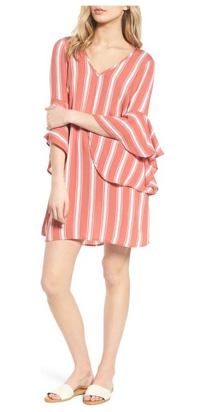 Band Of Gypsies ruffle bell sleeve dress in dusty coral/ ivory - Billowy bell sleeves, vertical striping and a strappy...