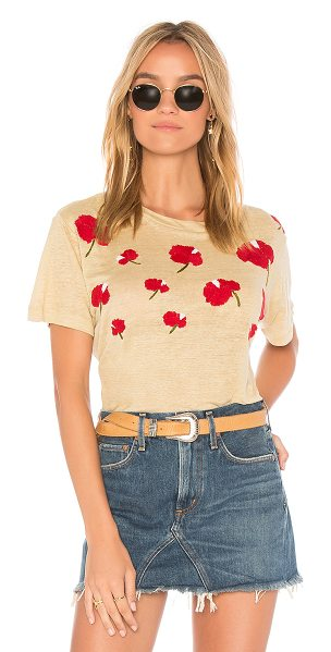 Banner Day Hawaiian Hibiscus Tee in beige - 100% linen. Dry clean only. Burnout fabric. Embroidered...