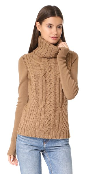 Barbara Bui cable knit turtleneck in camel - This mixed-texture Barbara Bui turtleneck sweater has...