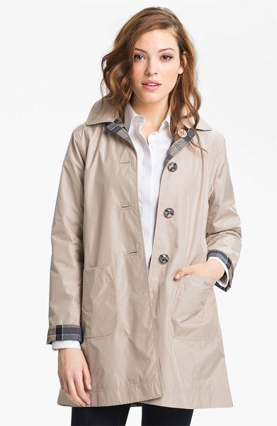 Barbour derby mackintosh reversible raincoat in cream - A simple A-line raincoat is like two coats in one, with...