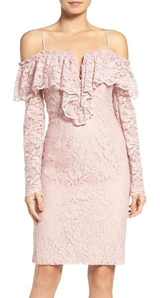 Bardot allessandra lace sheath dress in dusty pink - A ruffly, shoulder-flaunting neckline multiplies the...