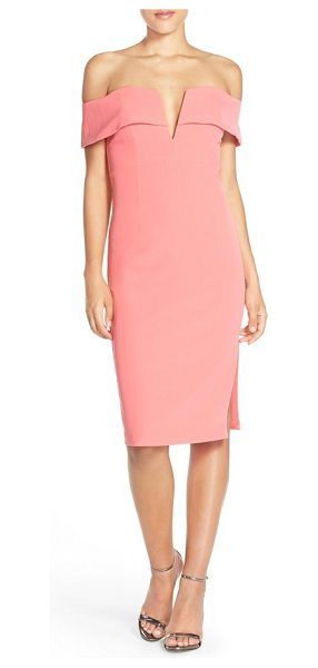 Bardot candice crepe midi dress in watermelon - This sheath's off-the-shoulder bodice is made all the...