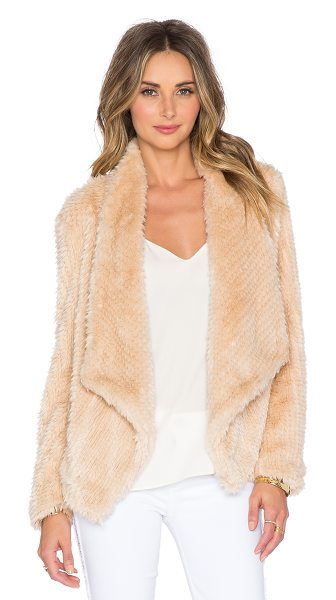 BARDOT Faux fur waterfall jacket in beige - Self: 80% modacrylic 20% polyLining: 95% poly 5%...
